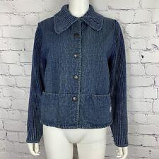 Vintage Blue Willi's Women's Quilted Denim Jacket Medium Blue Snap Button