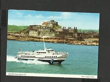 J Hinde Colour Postcard Boat Passing Elizabeth Castle-Jersey C.I Posted 1986