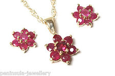 9ct Gold Ruby Cluster Pendant and Earring Set Gift Boxed Made in UK