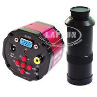 2MP HD 2in1 Industry Lab Video Microscope Camera VGA AV TV Output C-mount Lens