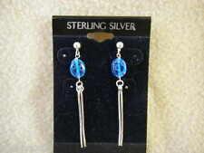 New Venetian Glass & Sterling Silver Dangle Post Earrings