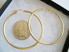 Very Large 14k Yellow Gold-Filled Hoop Earrings 49x2.3mm