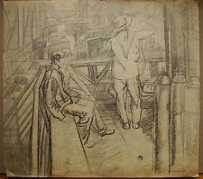 Russian Ukrainian Soviet pencil Painting portrait soc realism working woman