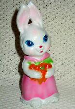 Vintage Girl Bunny Cute Rabbit Figure Statue Holds Carrots Easter 1975 Hong Kong