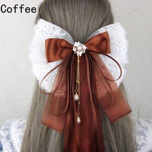 Chinese Women Girls Long Ribbon Bow Hair Clip Lace Organza Pendant Hairpin Retro