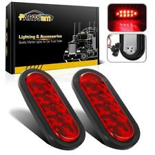 """2pc Red 6"""" Oval 10 LED Truck Trailer Brake Stop Turn Tail Lights w/Grommet Plug"""
