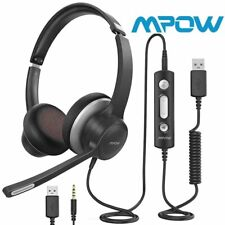 Mpow HC6 USB Headset/3.5mm Computer Headphones Noise Cancelling MIC for Skype PC