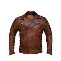Men's Biker Brown Distressed Motorcycle Cafe Racer Real Leather Jacket