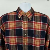 Chaps Ralph Lauren Mens Black Red Plaid Check Flannel L/S Button Shirt Sz Medium