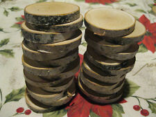 25 BIRCH WOOD SLICES WOODEN CRAFTS WEDDING ORNAMENTS COASTERS DRIED 2 1/2