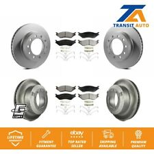 Front Rear Coated Disc Brake Rotor & Ceramic Pad Kit Ford F-450 Super Duty F-550
