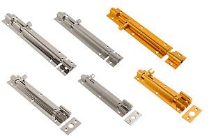 Barrel Door Bolt Slide Action Brass, Chrome or Satin Straight Necked Door Bolts