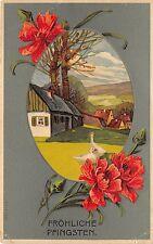 BG8254 embossed flower oie goose pfingsten Pentecost greetings germany
