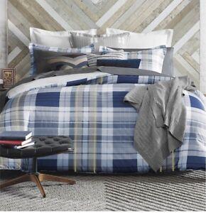 TOMMY HILFIGER Poquonock Plaid King Comforter SET 3 Pc Navy Blue/Yellow/ White