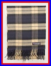 100% Cashmere Scarf Blue Camel Check Plaid Scotland Ghram Nova Flannel Wool ZS02