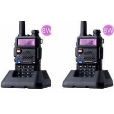 2 Pcs Baofeng UV-5R Real 8W Dual-Band UHF/VHF Ham Walkie Talkies Two-way Radios