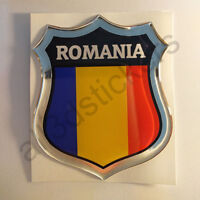 Adesivi Romania Scudetto Romania 3D Bandiera Resinato Adesivo Vinile Resinati