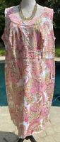 Jones New York Signature Woman Plus Size Pink Paisley Dress Stretch Cotton 18W