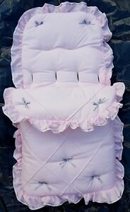 Baby Cosytoes/Footmuff in pink /silver pin tuck