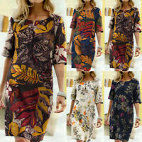 Women Vintage Short Sleeve Sundress Ladies Knee Length Floral Pinted Shift Dress