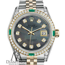 Emerald Rolex 26mm Datejust 2 Tone 18K & SS Black MOP Diamond Jubilee Watch