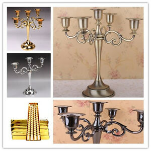 3/5 Arms Metal Crafts Candelabra Alloy Candle Holder Stand Wedding Home Decor