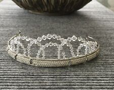 Swarovski Crystal Beaded Tiara Crown Wedding Bridal Prom Headband Rhinestone