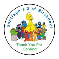 30 Sesame Street personalized birthday party stickers,labels,favors,tags,round