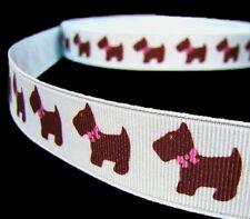 "5 Yards Dog Pet Puppy Scotty Grosgrain Ribbon 7/8""W Blue Pink bin"