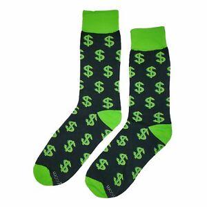 NWT Money Dress Socks Novelty Men 8-12 Black and Green Fun Sockfly