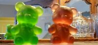 BOYD FUZZY THE BEAR GLASS SATIN  FROSTED  RUBY RED   EMERALD GREEN LOT OF 2