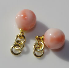 VINTAGE 14K GF 7.5 CT ANGEL SKIN CORAL 7MM ROUND NATURAL BALL EARRINGS JACKETS