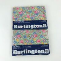 Vintage Burlington Twin Sheet Set Calico Garden 1 Fitted 1 Flat Sheet Floral New
