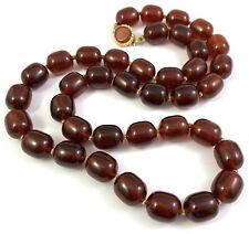 VINTAGE BEADED NECKLACE FAUX AMBER COLOR PLASTIC BEADS COSTUME JEWELRY