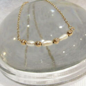 Vintage Gold Filled Necklace 14k GF Chain Seed Pearls AMCO