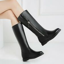 Womens Fashion Winter Round Toe Zipper Knee High Boots Knight Boots Plus Size
