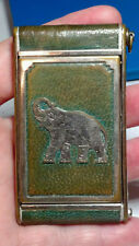 Vintage GIREY COMPACT Silver Tone Elephant on Blue Green Leather Camera Style