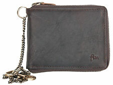 Men's biker's natural oiled genuine leather wallet with metal zipper and chain