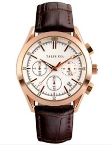 MENS TALIS Co Royal Chrono Watch - Rose Gold Colour Case - White Dial - Leather