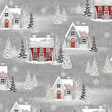 Houses Christmas Holiday Homecoming Henry Glass Quilt Fabric by the 1/2 yard