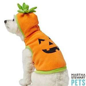 NWT Martha Stewart Pets Pumpkin Face Fleece Hoodie Halloween costume Med dog cat