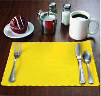 """100 Raise® Yellow Paper Placemats, Scalloped Edge, 10""""x14"""" place mats,Disposable"""