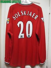 SOLSKJAER #20 Manchester United 2000-2002 Home Long-Sleeves Shirt Jersey XXL