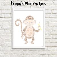 Personalised Monkey Chimp Animal Zoo Birthday Christmas Word Art Wall Gift Print