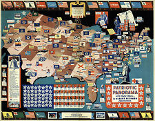 Midcentury Map Patriotic Panorama USA Emblems Flags Coats-of-Arms Vintage School