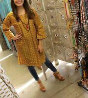 Boho Gypsy Ethnic Tunic Dress Yellow Printed Cotton Hippie Chic Kurti S/M