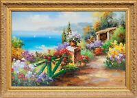 Framed Original Oil Painting On Canvas, Signed Beautiful Mediterranean Landscape