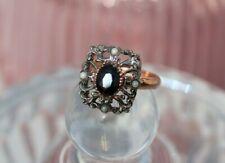 Bague ajustable argent or rose en Saphir Perles Style ancien NEUF Noel Ring
