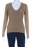 Ralph Lauren Black Label Womens Cashmere Cable Knit V-Neck Sweater Brown Size XS