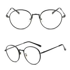 Oval Metal Clear Lens Glasses Women Men Vintage Artistic Frame Plain Eyewear Hot